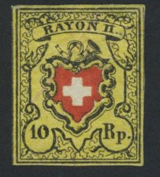 "Switzerland 1850 – Swiss coat of arms with post horn, inscription ""Rayon II"" – Michel 8II"