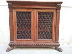 Renaissance style bookcase in solid walnut - 20th century