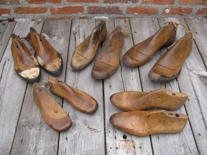 Ten vintage beech shoe lasts (moulds), the Netherlands, first half 20th century.