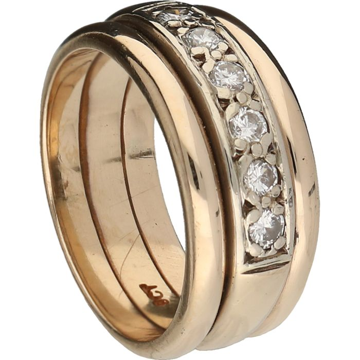 9 kt Below legal gold grade – Yellow gold ring band set with 6 diamonds, approx. 0.24 ct in total –  Ring size: 16.5 mm **NO RESERVE**