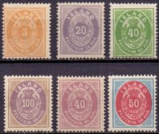 Iceland - 1876-1901 - 6 Stamps small oval perforation 14 x 13½
