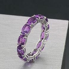 Memory ring with amethysts 4.74ct in total 750 white gold -- nore serve price --