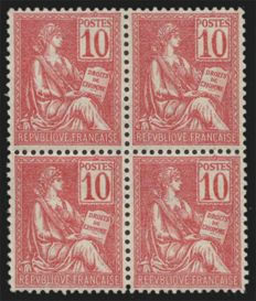 France 1900 - Mouchon 10c pink type I, Calves signed - Yvert no. 112 block of 4
