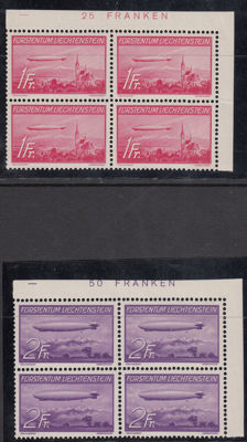 Liechtenstein 1936 - 'Zeppelin' - Michel 149/150 in block of 4