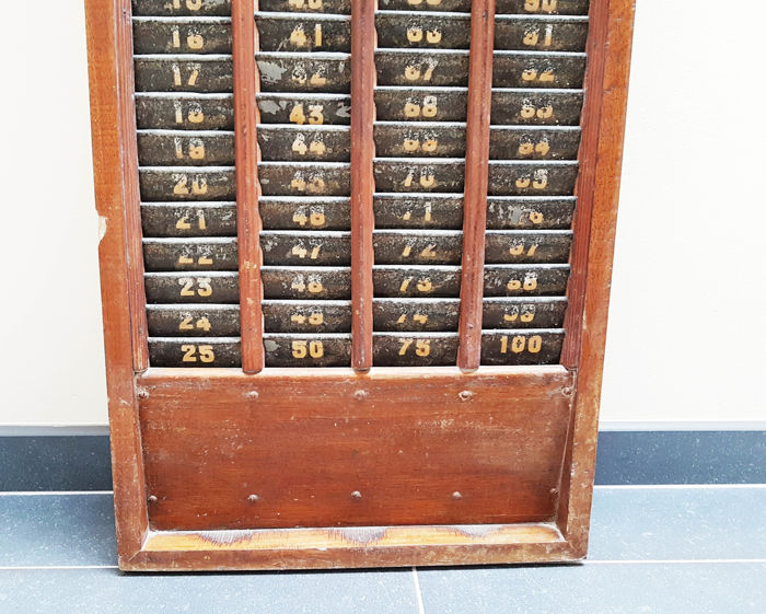 French Oak Factory Worker Time Clock Card Rack France 1910
