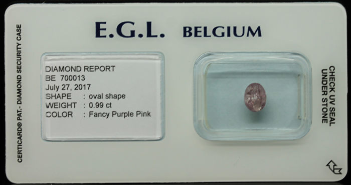 0.99 ct Certified Fancy Purple Pink Diamond  - NO RESERVE