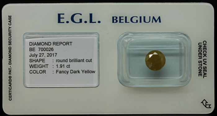 1.91 ct Certified Fancy Dark Yellow Diamond  - NO RESERVE