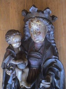 Very large hand-painted composite sculpture - Neo-Gothic Madonna with Baby Jesus - Germany - beginning of 20th century