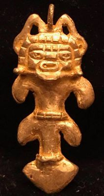 Tumbaga Gold , artifact , Colombian Tairona - 41 x 18 x 3 mm , 4,8  grams, A pendant of a Schaman-arrow amulet