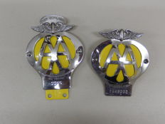 2 AA Badges New Zealand and UK Issued Car Badges Auto Emblems