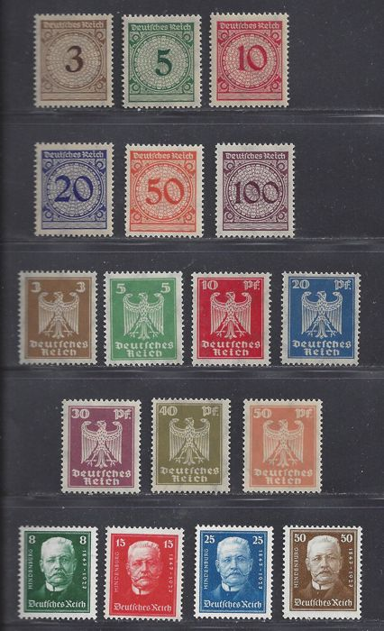 German Empire 1923/1927 – Various series – Michel 338/343, 355/361 and 403/406