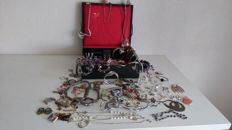 Large collection of vintage jewellery in a jewellery box by Van Kempen & Sons