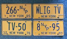 NEW YORK state - 4  TV & PRESS  license plates