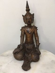 Wooden Seated Angel - Burma - 19th Century