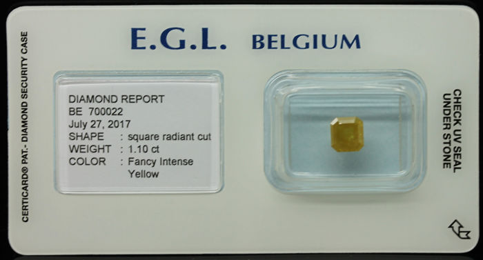 1.10 ct Certified Fancy INTENSE Yellow Diamond  - NO RESERVE