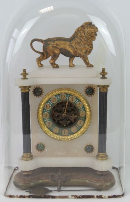 Late 19th gilt mantel striking movement marble clock