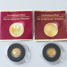 World – Lot of 2 coins (Ivory Coast, Tristan da Cunha) 2009/2014 – 2 x ½ g gold