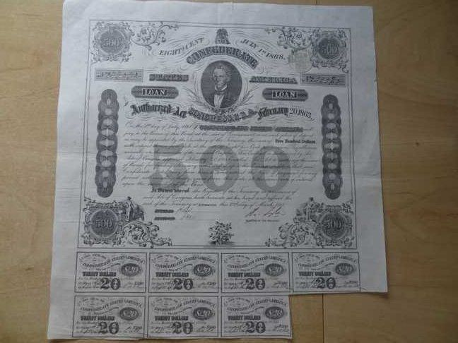 USA: Confederatie States of America. Loan 500 Dollar eight cent. July 1868. Richmond.