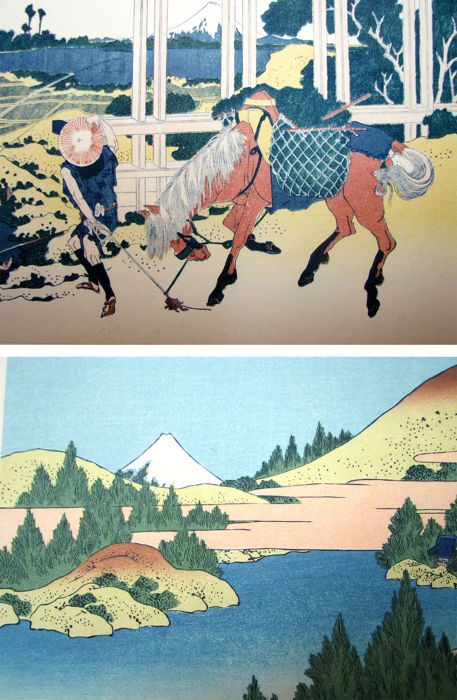 Two woodblock prints by Katsushika Hokusai (1760-1849) from the series '36 Views of Mt. Fuji' (Fugaku sanjurokkei kei) (reprints) - Japan - ca. 1970s
