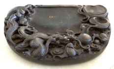 Large and very detailed inkstone of dragon chasing pearl (34cm) - China - Late 20th century