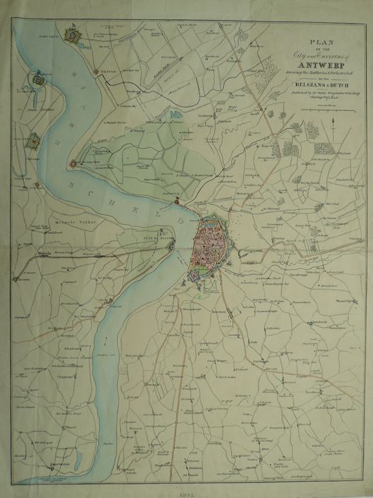 Belgium, Antwerp; J. Wyld - Plan of the City and environs of Antwerp - Ca. 1832