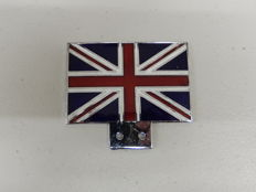 Vintage Chrome and Enamel UK United Kingdom Union Jack Flag Car Grille Badge