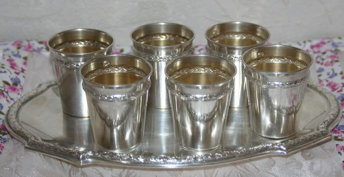 Sterling silver Liqueur serving set, 950/1000 (6 Goblets + Tray) minerva's head hallmark and jeweller's mark on each one: Gardey, Léo 1914 Paris