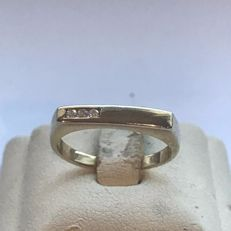 14 kt yellow gold unisex ring with diamonds 0.03 ct - 16 mm