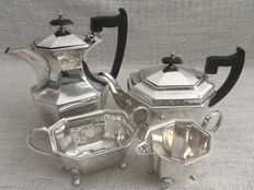 "Vintage English silver plated four(4) piece tea & coffee set ""SHEFFIELD "" mid 19th century"