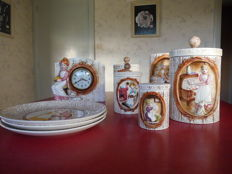 Vintage Sears, Roebuck and Co. ceramic canisters, table clock & plates