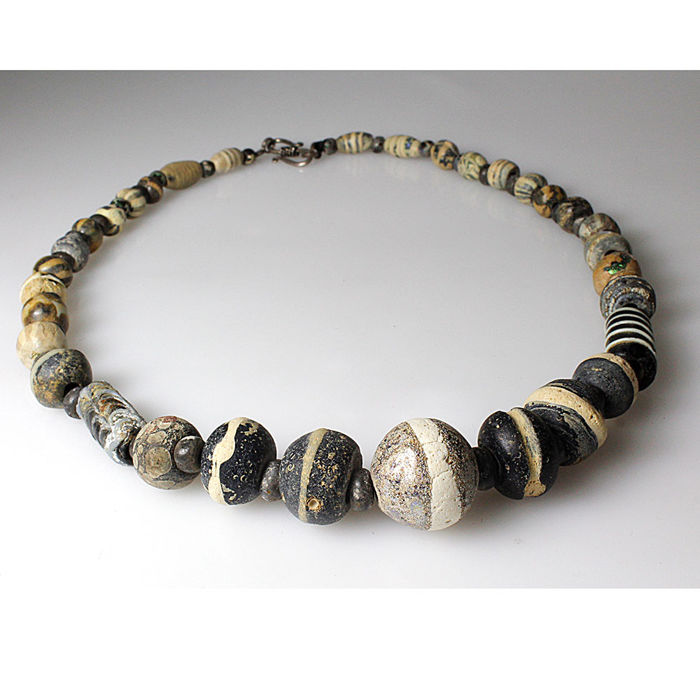 A Islamic Mosaic Glass Bead Necklace - 52 cm