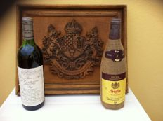 1981 Rioja Gran Reserva Age first Centenary (1881/1981) & Commemorative shield of the winery AGE Rioja & 1981 Rioja Crianza Saco - 2 bottles & 1 original shield