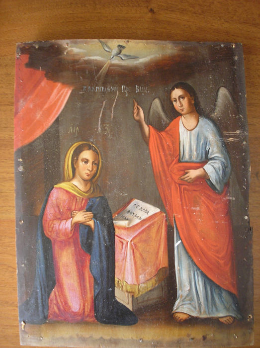 19 th century ortodox russian icon of annunciation hand painted