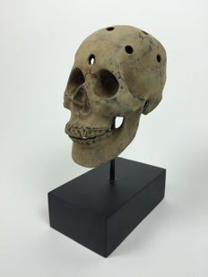 Human Skull replica of Bronze with Stand - East-Java, Indonesia 21st century