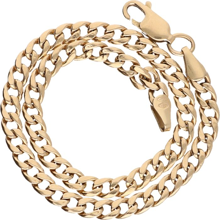 14 kt Yellow gold, curb link necklace – 20 cm