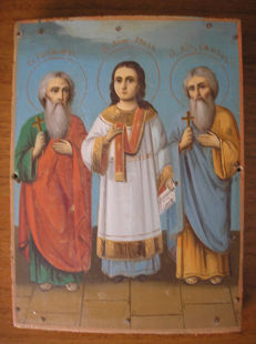 19 th century ortodox russian icon of three saints hand painted