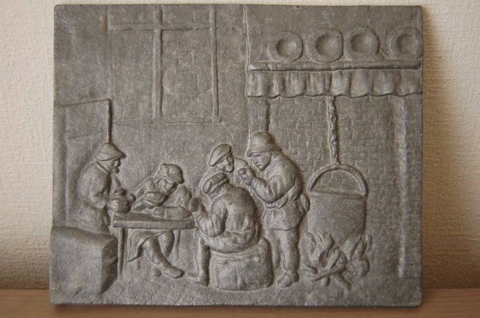 Inn scene in bas-relief - metal - Belgium - Mid-20th century