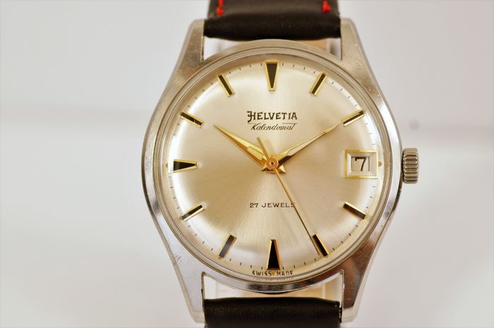"Helvetia Kalendomat Automatic - Vintage ""Dress"" men's watch co. 1970s."