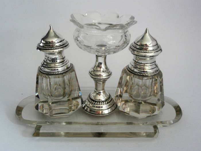 Antique Biedermeier ink set, crystal with silver, the Netherlands, 1865