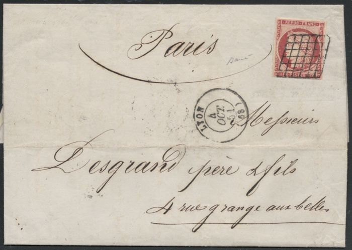 France 1851 - Ceres 1FR  carmin brown on letter, signed Brun and Baudot - Yvert no. 6b