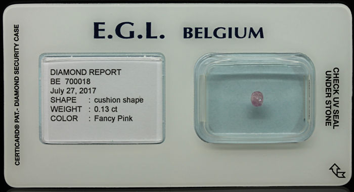 0.13 ct Certified Fancy Pink Diamond  - NO RESERVE