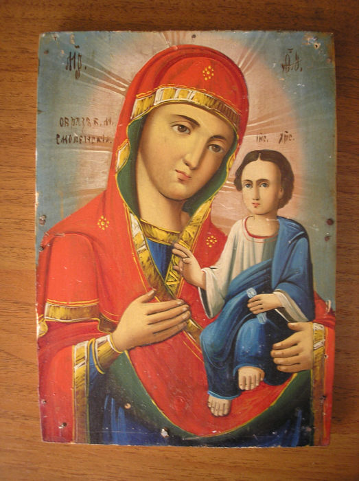 19 th century ortodox russian icon of virgin Mary of smolenskaja hand painted