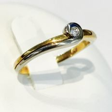 Gold ladie's ring 14 kt. with brilliant cut diamond 0.10 ct.  No reserve!