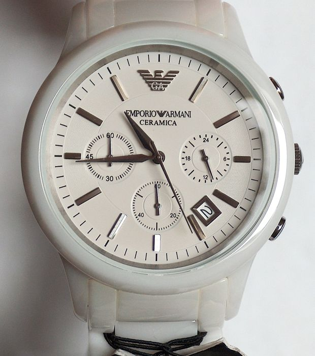 Emporio Armani 1453 - Quartz Movement – White Ceramic – Original box and manuals – chronograph- 2017