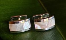 Vintage Handmade Couple of Silver 925 Nacre Cufflinks - gr 17