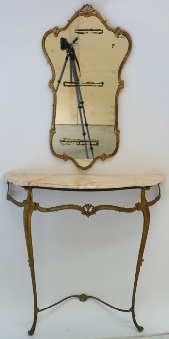 Side table with marble top and matching mirror
