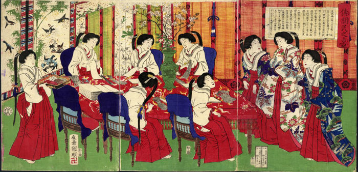 Woodcut triptych by Utagawa Kuniaki II (1835-1888) - Imperial Household - Japan-1887.