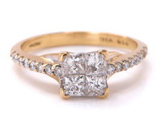 18 kt gold diamond entourage ring with 0.50 ct - Ring size: 16.16 mm **No Reserve price**