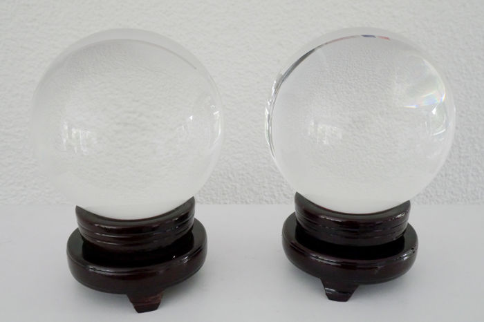 Two large glass/crystal balls for divination / clairvoyance /photography - past and present - all clear.