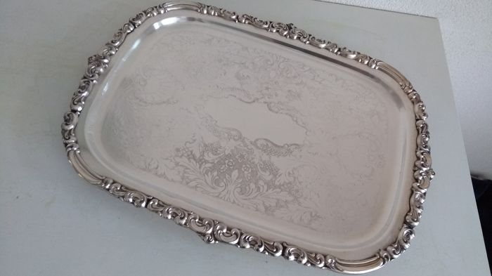 Large silver plated Oneida, heirloom, Venetian scroll, serving tray